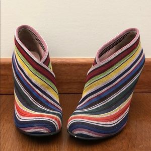Colorful striped cast heels